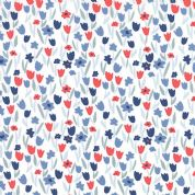 Moda Aria by Kate Spain - 4562 - Blue and Red Tulips on White - 27236 26 - Cotton Fabric